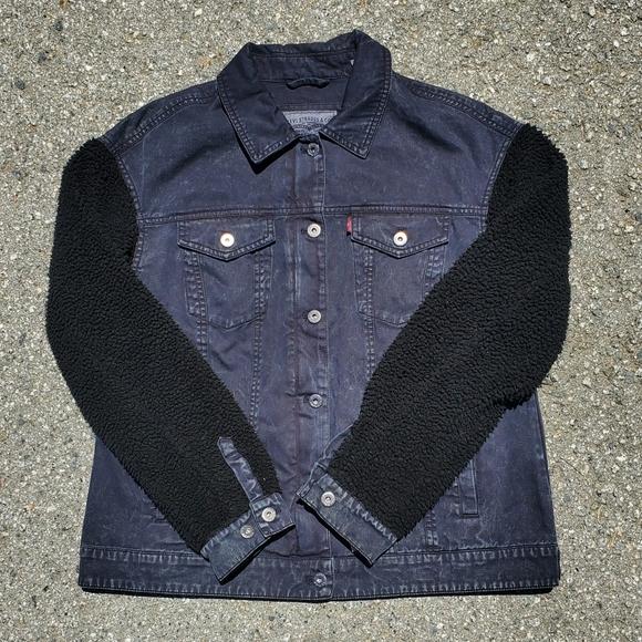 Levi's Acid Washed Sherpa Sleeve Trucker Jacket